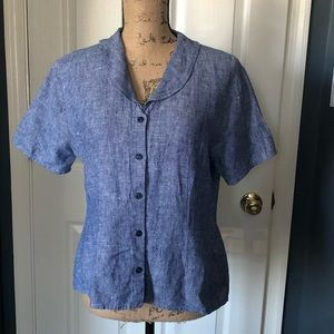 FLAX blue fitted short sleeve linen top